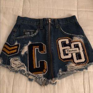 Caramel denim mini skirt from LF